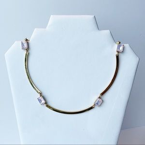 J. Crew Gold Tone Bar Necklace Iridescent Gemstone